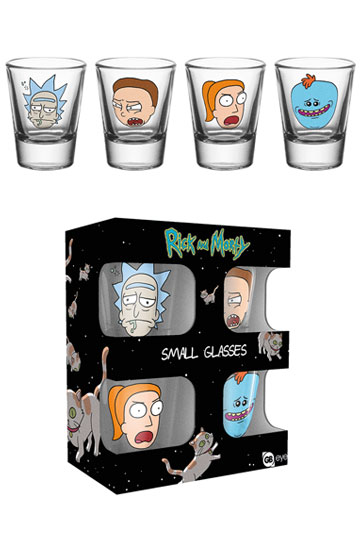 Imagen de Rick y Morty Pack de 4 Vasos de Chupitos Faces
